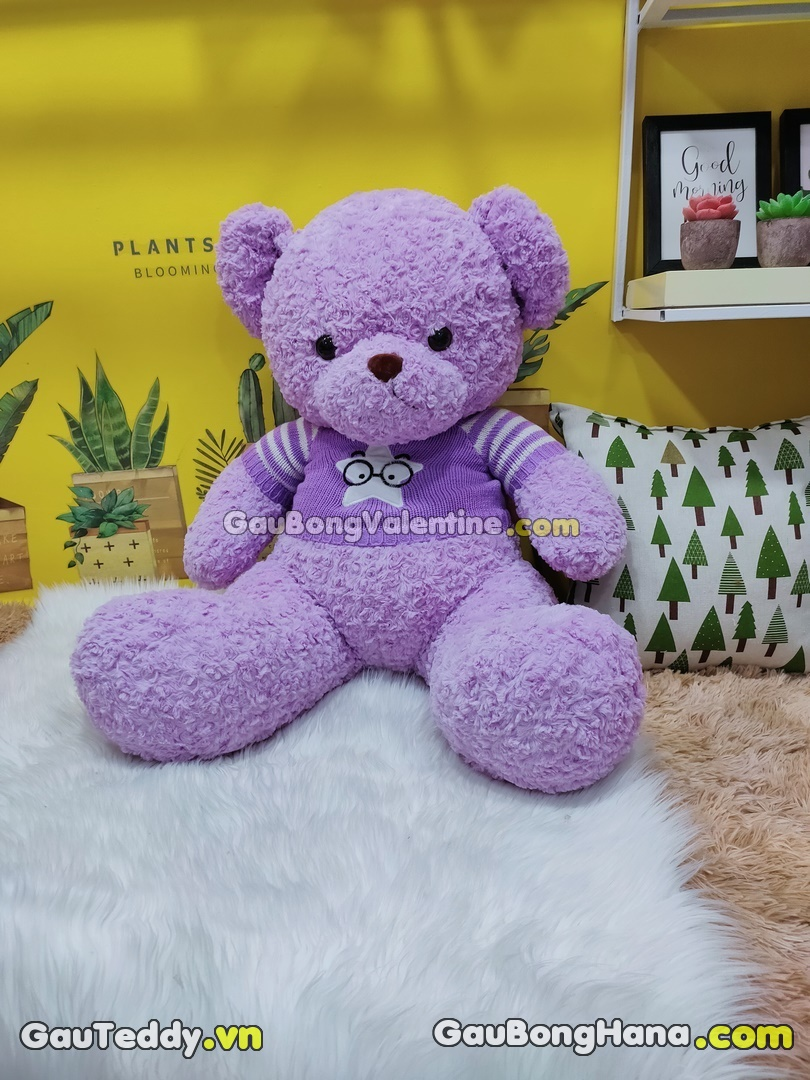 Gấu Bông Tím Áo Sao Mũi Đen