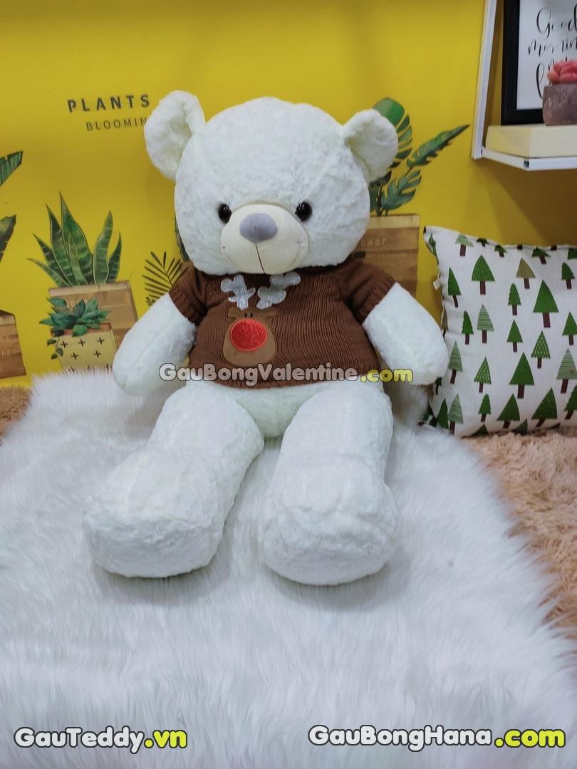 Gấu Bông Trắng Áo Nâu Miệng Cười