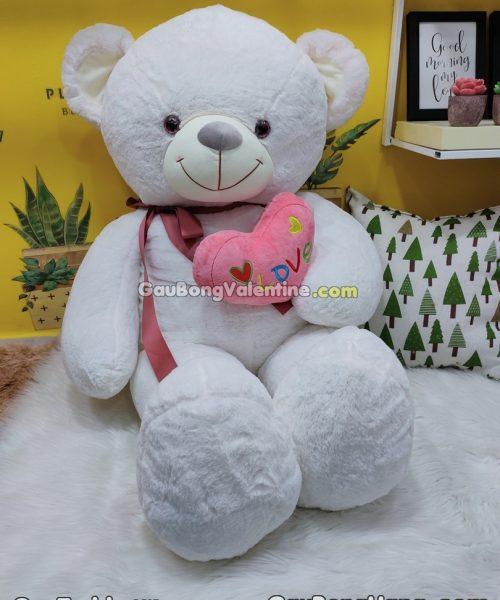 Gấu Bông Trắng Ôm Tim Love