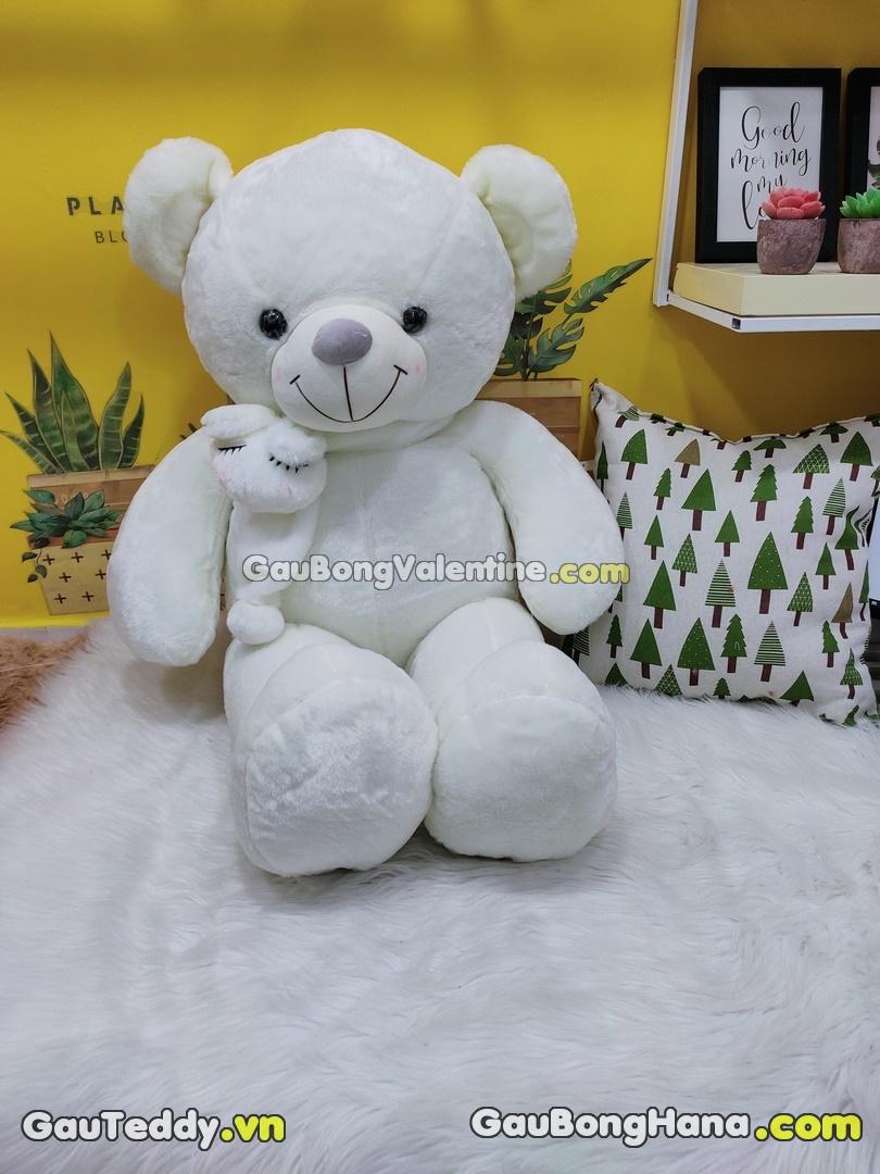 Gấu Bông Trắng Khăn Choàng Thỏ