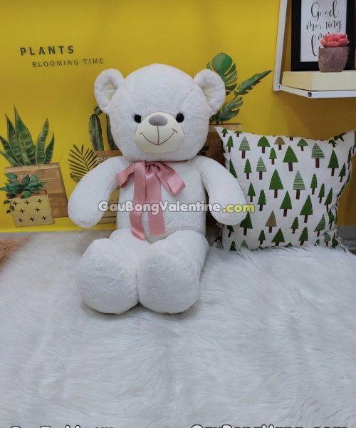 Gấu Bông Trắng Cột Nơ Hồng