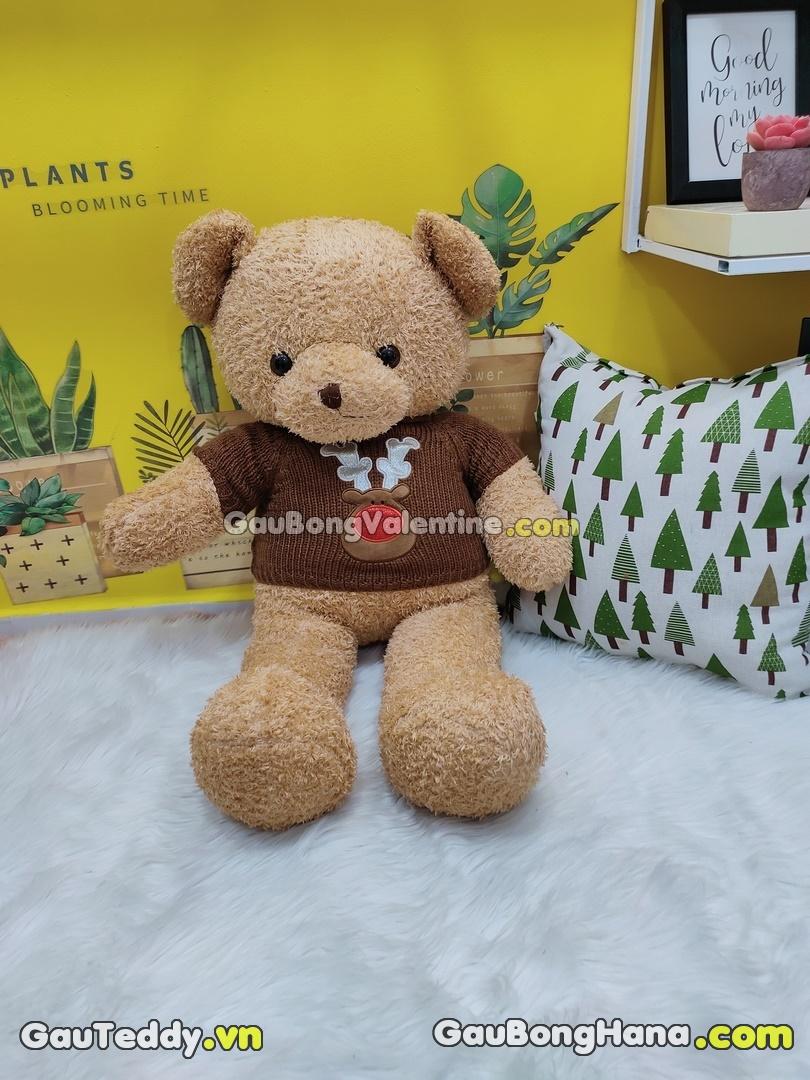 Gấu Bông Lông Chỉ Aó Nâu Tuần Lộc