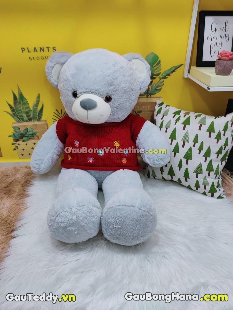 Gấu Bông Xám Aó Hoa Đỏ