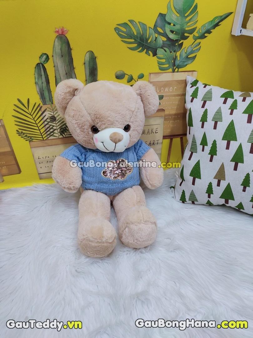 Gấu Bông Kim Sa Aó Len Xanh Dương