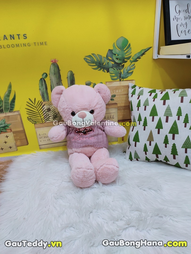 Gấu Bông Kim Sa Aó Len Tím
