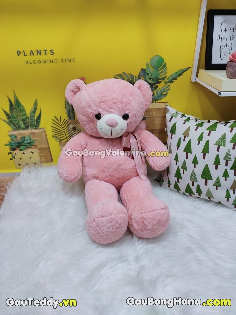 Gấu Bông Hồng Ngực Thêu Tim