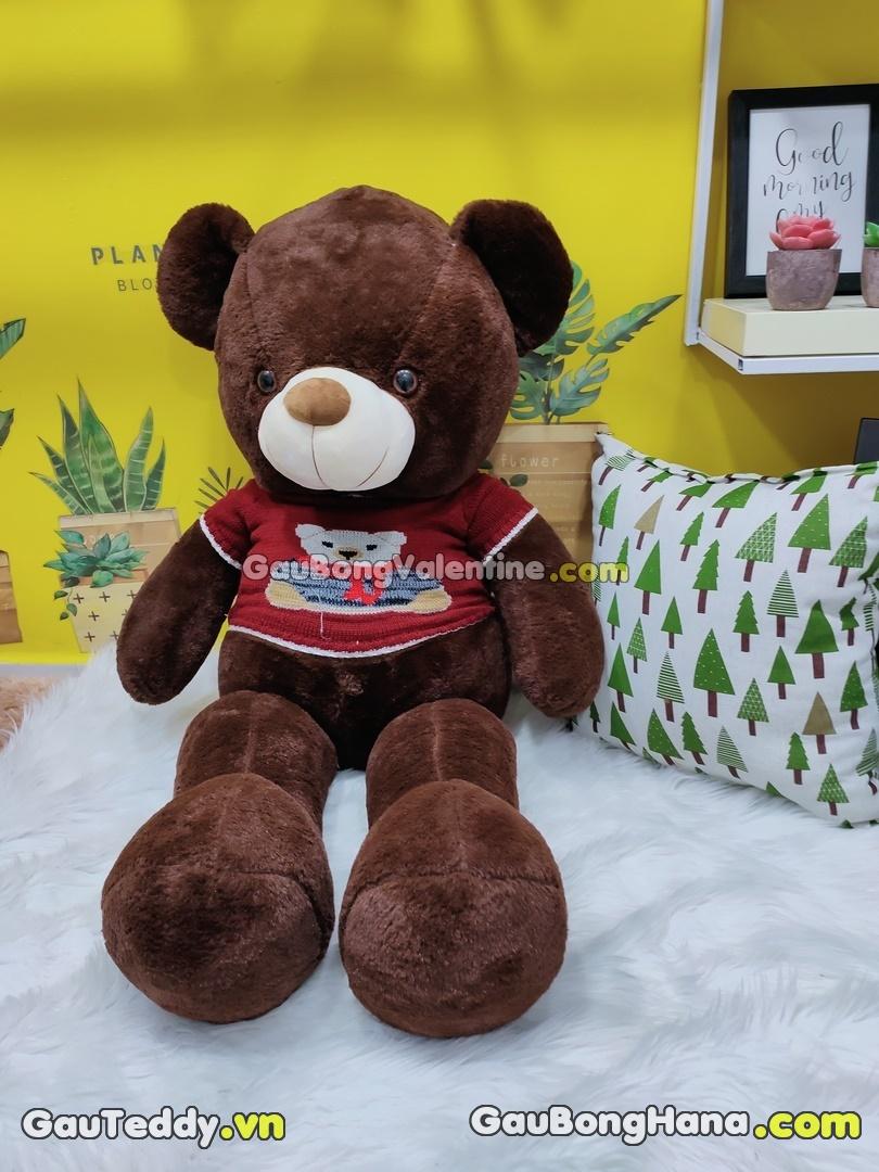 Gấu Bông Nâu Đậm Áo Gấu Đỏ
