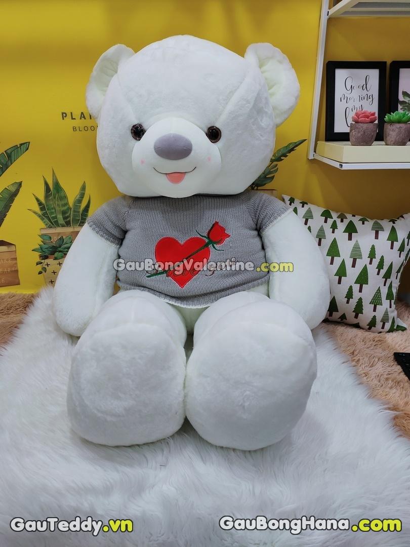 Gấu Bông Smile Trắng Áo Xám