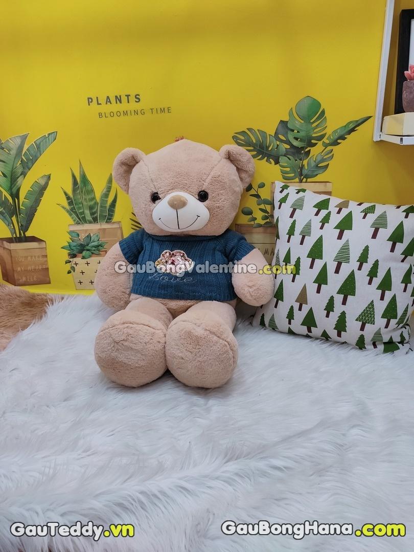 Gấu Bông Kim Sa Aó Len Xanh Dương Đậm