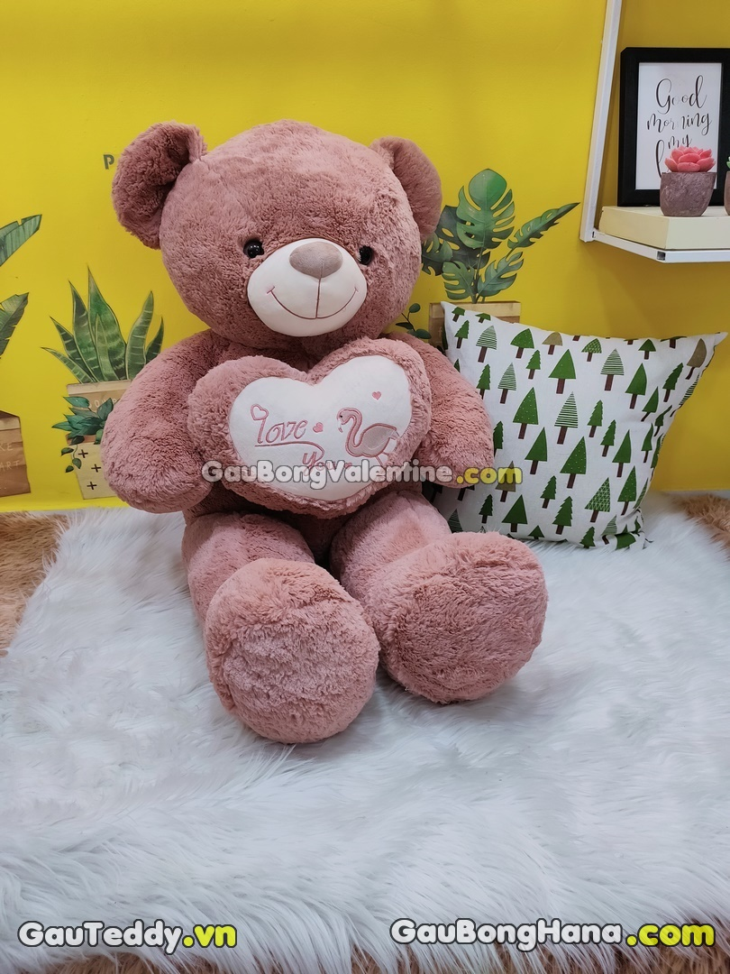 Gấu Bông Hồng Ôm Tim Love You