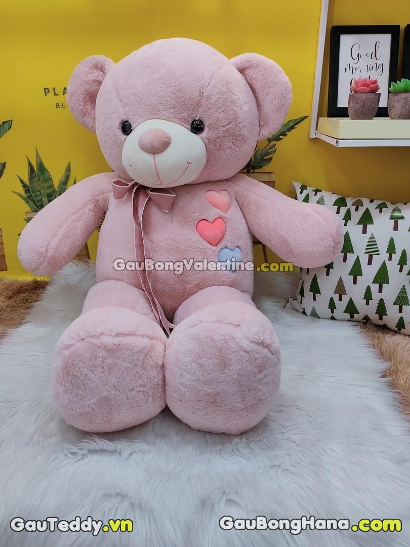Gấu Bông Nơ Tim Hồng