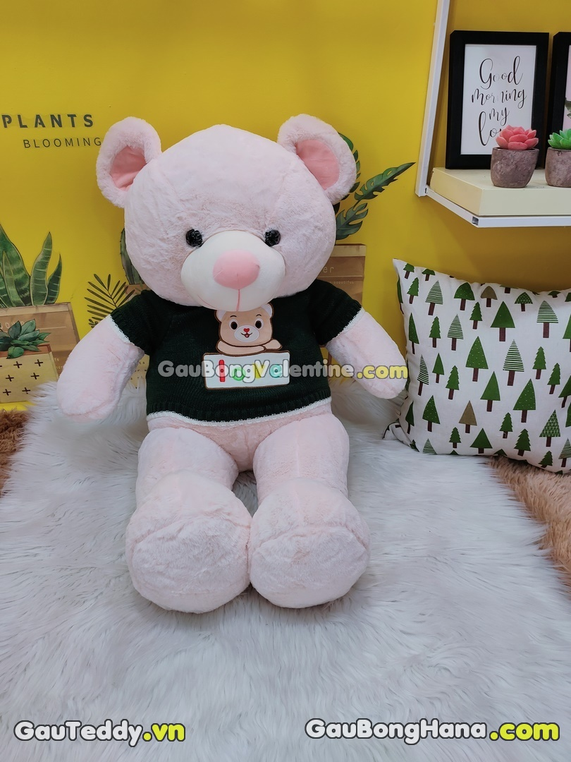 Gấu Bông Tai Hồng Áo Love