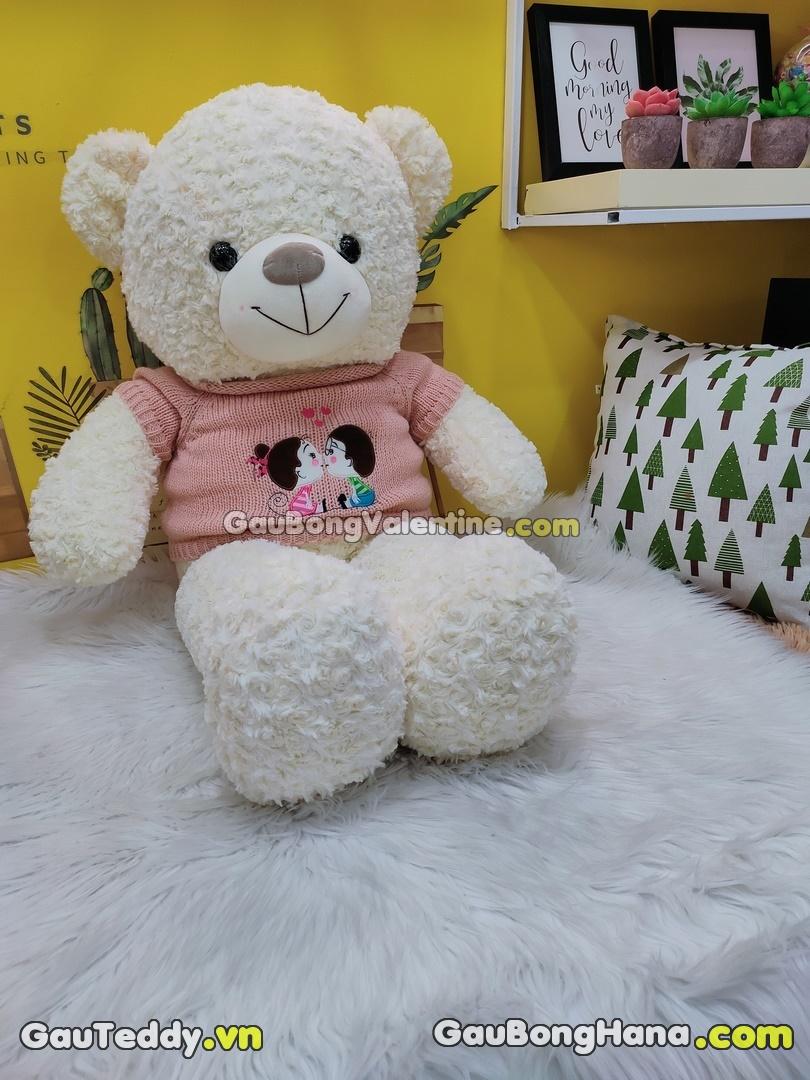Gấu Bông Trắng Lông Xoắn Love You